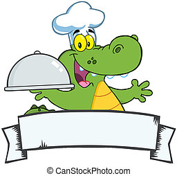 Crocodile Chef Holding A Platter - Happy Crocodile Chef...