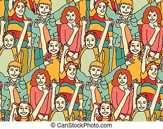 Happy crowd children color seamless pattern.