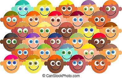 happy crowd - Happy, smiling, diverse crowd of cartoon...