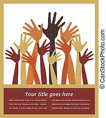 Happy crowd of hands design. - Happy crowd of hands design...