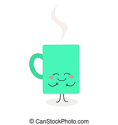 Happy cup with hot beverage cartoon character