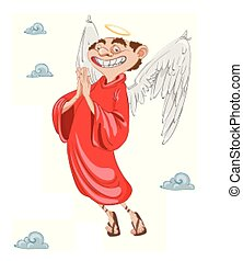 Happy Cupid Angel smiling Vector. cartoon character