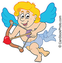 Happy cupid with bow and arrow - Happy Cupid with bow and...