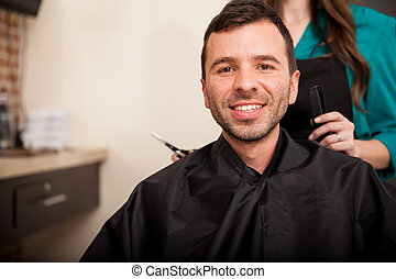 Happy customer at a hair salon
