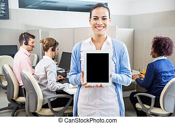 Happy Customer Service Agent Showing Tablet Computer