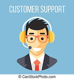 Happy customer support manager with headphones. Blue ...