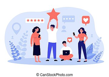 Happy customers giving feedback to service or online store. People with gadgets voting with rating stars. Vector illustration for client positive review, assessment, evaluation concept