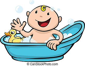 Happy cute baby bath time - Clipart illustration of a happy...