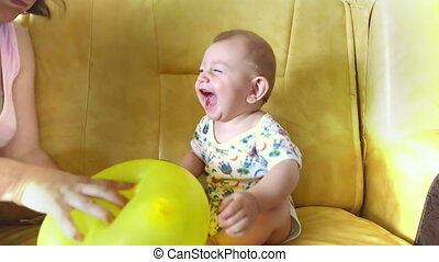 Happy Cute Boy Laughing Loud - Little boy playing and...