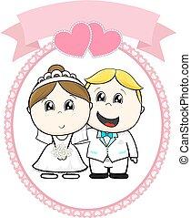 happy cute bride and groom