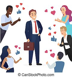Happy cute businessman and people with thumbs up. Likes hearts and positive feedback from fans concept vector illustration.