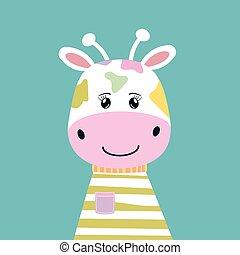 Happy cute cartoon giraffe. Kawaii modern flat style.