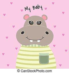 Happy cute cartoon hippopotamus. Kawaii modern flat style.