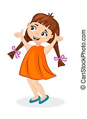 Happy cute cartoon little girl with pigtails.