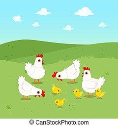 happy cute chicken group in green field
