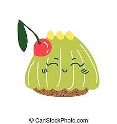 Happy Cute Delicious Jelly Cartoon Character, Adorable Kawaii Dessert with Cherry Vector Illustration