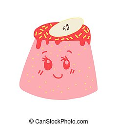 Happy Cute Delicious Pink Pudding Cartoon Character, Adorable Kawaii Dessert with Funny Face Vector Illustration