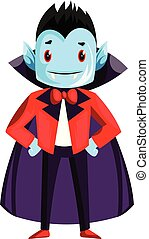Happy cute dracula character with blue face vector illustration on white background.