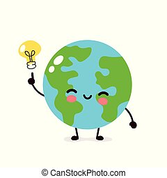 Happy cute Earth planet with lightbulb