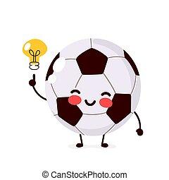 Happy cute football ball with lightbulb