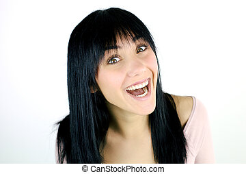 Happy cute fresh smile of girl laughing
