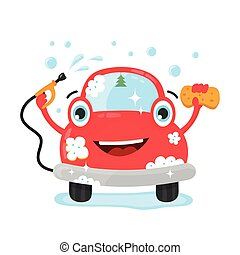 Happy cute fun clear car with hose and washcloth. Vector...