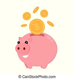 Happy cute funny smiling piggy bank