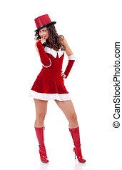 girl in santa claus suit