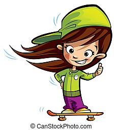Happy cute girl on a skateboard making a thumbs up gesture