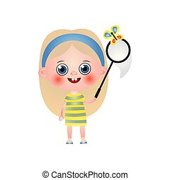 Happy cute girl playing with net, catching butterfly isolated on white background