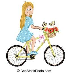 Happy cute girl riding a bike.