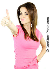 Happy cute girl thumb up - Gorgeous lady smiling thumb up