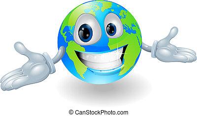 Happy cute globe character