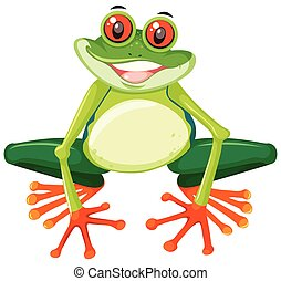 Happy cute green frog