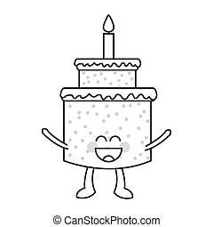 happy Cute kawaii cake with candle