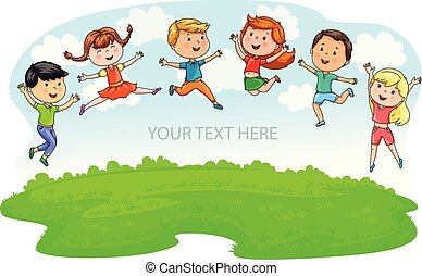Happy cute kids jumping on green meadow and blue sky and place under your text