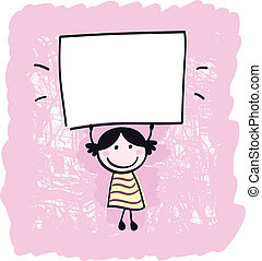 Happy cute little girl holding empty blank banner - cartoon illustration