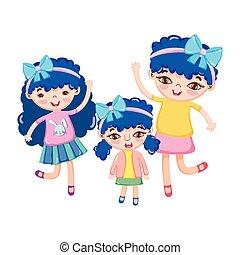 happy cute little girls with ribbon in head celebrating cartoon