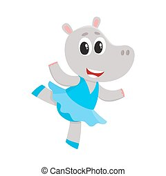 Happy cute little hippo character, ballet dancer in tutu skirt