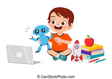 happy cute little kid boy play computer and robot
