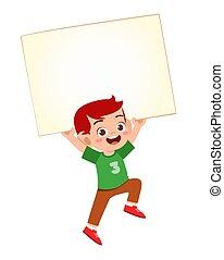 happy cute little kid boy with blank banner