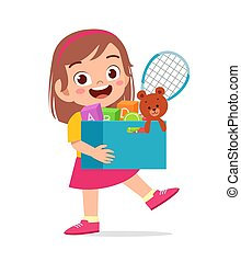 happy cute little kid girl carry box of toys