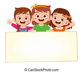 happy cute little kid girls with blank banner