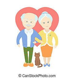 Happy cute old couple - Grandma and Grandpa