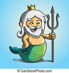 cartoon illustration of cute poseidon