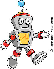 Happy Cute Robot Vector Illustration