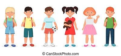 Happy cute school children kids collection set.