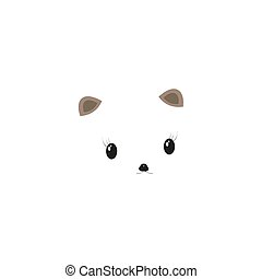 happy cute smile panda face with heart shape nose vector illustration