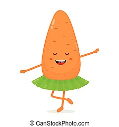 Happy cute smiling funny carrot ballerina.