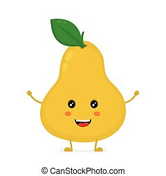 Happy cute smiling funny pear. Vector flat